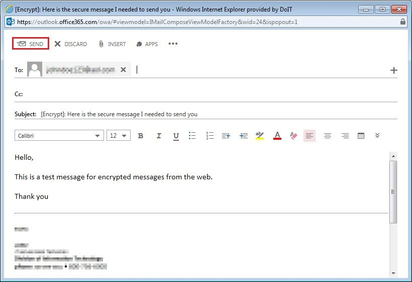 Article - Encrypting e-mails for exte